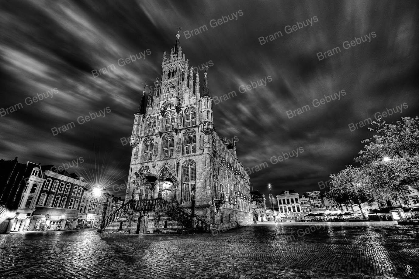 Stadhuis Gouda zwart-wit